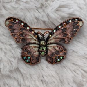 Joan Rivers Enamel & Rhinestone Butterfly Pin